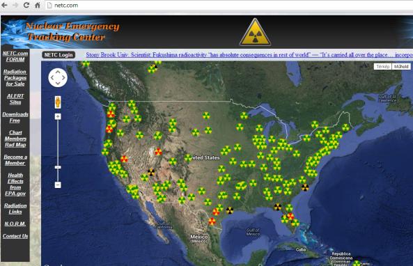 Feljegyzett sugárzásészlelések a világon. netc.com