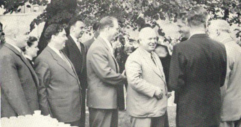 From left: Molotov, Malenkov, Peruvkin, Khrushchev, Shepilov and Bulganin, Bohlen facing them.