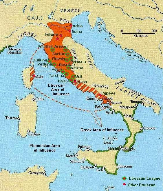 The Etruscans founded many cities on the Italian peninsula
