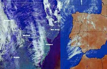 A műholdfelvételeken szokatlan cikkcakk minták láthatók az USA felett (balra) és Nyugat-Európa (jobbra) egy része felett